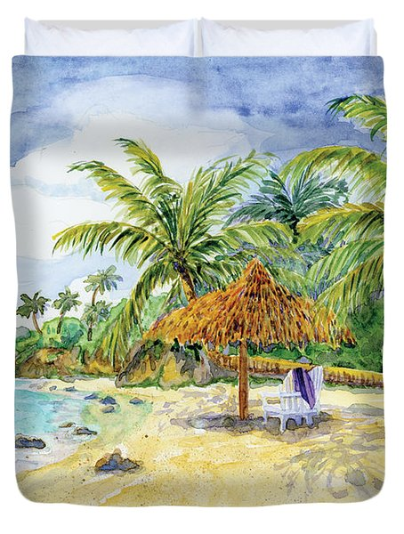 Palappa N Adirondack Chairs On A Caribbean Beach Duvet Cover