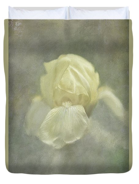 Duvet Cover featuring the digital art Pale Misty Iris by Lois Bryan