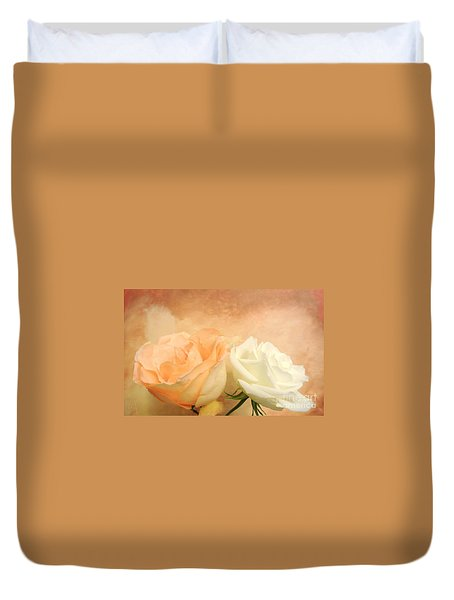 Pale Peach And White Roses Duvet Cover by Marsha Heiken