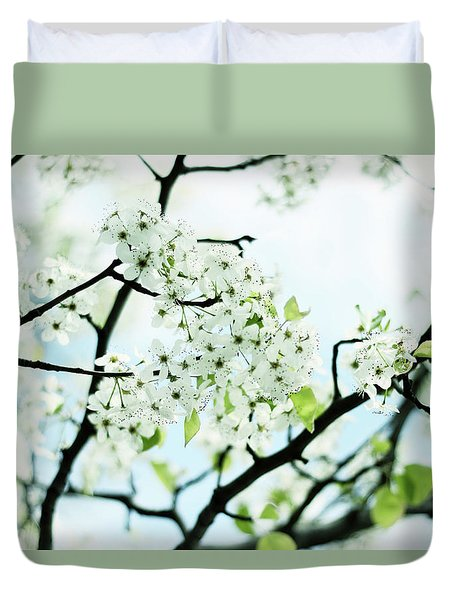 Duvet Cover featuring the photograph Pale Pear Blossom by Jessica Jenney