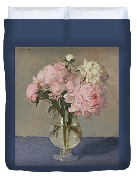 Pale Pink Peonies On Blue Cloth Duvet Cover