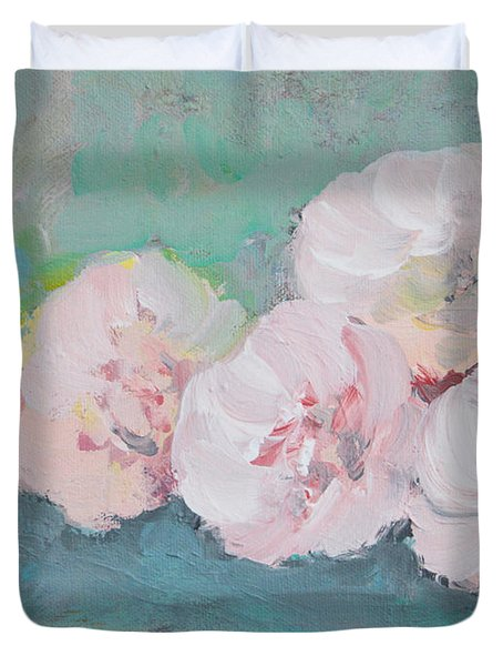 Pale Pink Peonies Duvet Cover by Robin Maria Pedrero