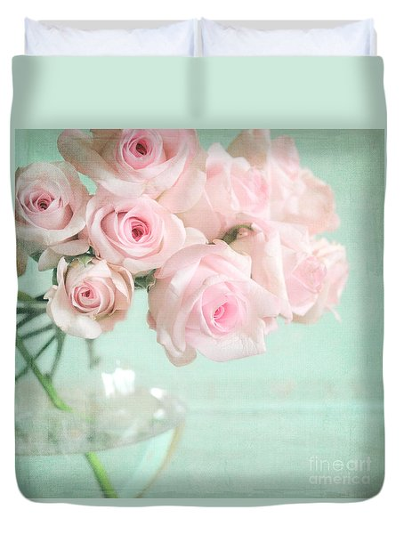 Pale Pink Roses Duvet Cover by Lyn Randle