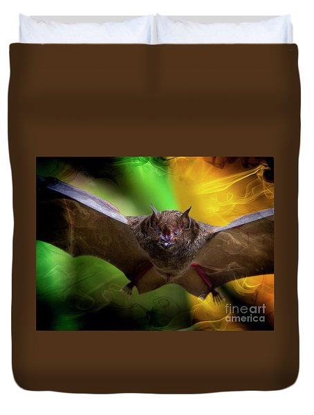 Duvet Cover featuring the photograph Pale Spear-nosed Bat In The Amazon Jungle by Al Bourassa