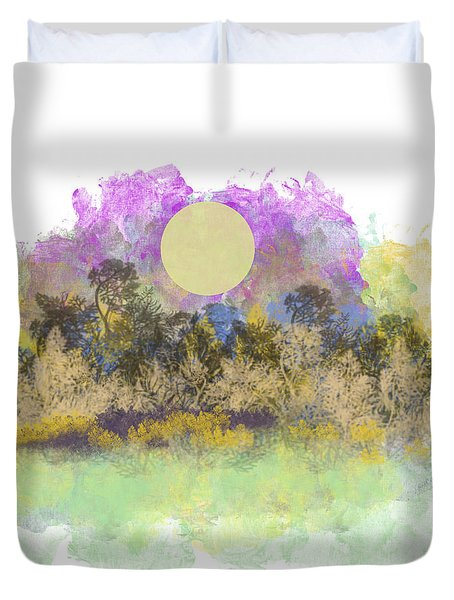 Pale Yellow Moon Duvet Cover by Jessica Wright
