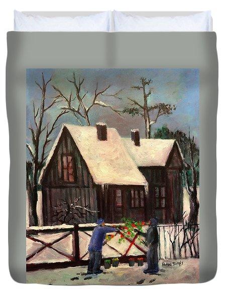 Palette In The Snow Duvet Cover