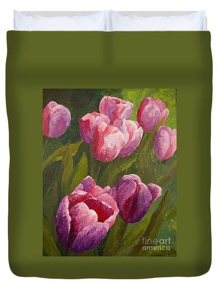 Palette Tulips Duvet Cover by Phyllis Howard