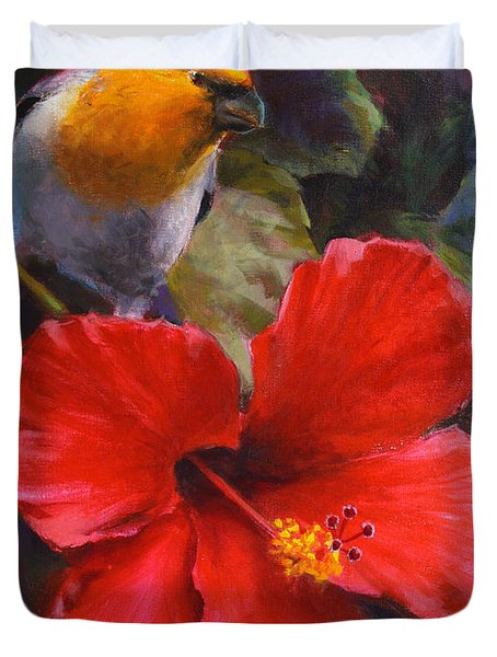 Palila And Hibiscus - Hawaiian Painting Duvet Cover