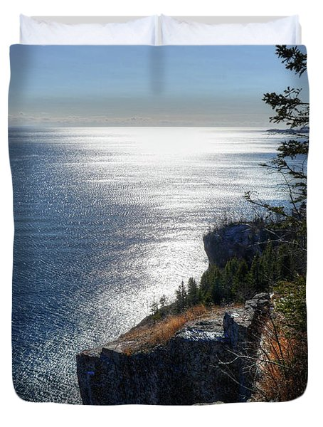 Palisade Head Lake Superior Minnesota Winter Afternoon Duvet Cover