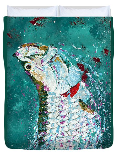 Pallet Knife Jumping Tarpon Duvet Cover by Kevin Brant