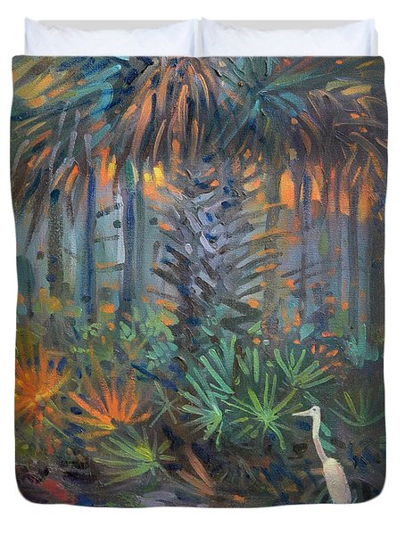 Duvet Cover featuring the painting Palm And Egret by Donald Maier