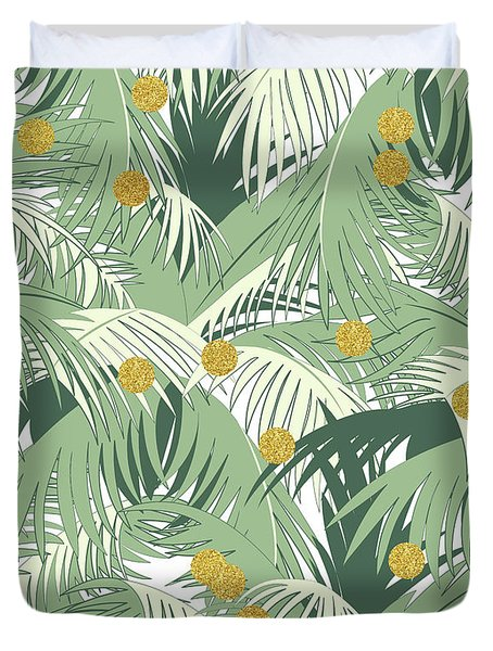 Palm And Gold Duvet Cover