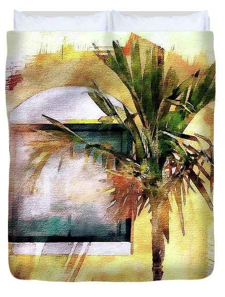 Palm And Window Duvet Cover by Robert Smith
