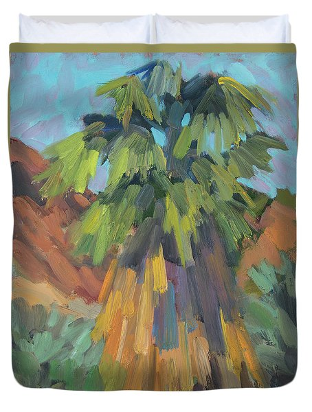 Duvet Cover featuring the painting Palm At Santa Rosa Mountains Visitors Center by Diane McClary