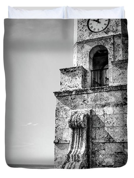 Palm Beach Clock Tower In Black And White Duvet Cover