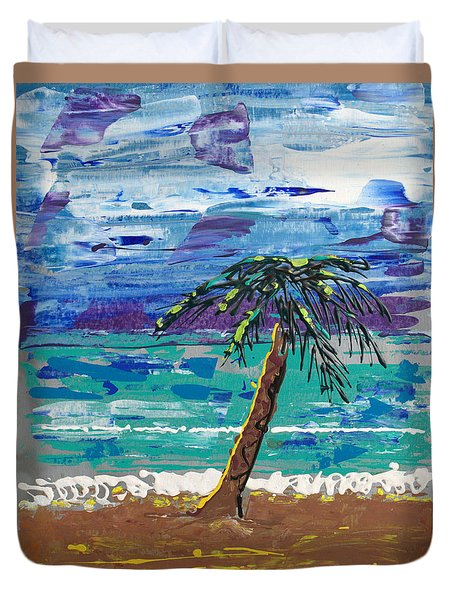 Duvet Cover featuring the painting Palm Beach by J R Seymour
