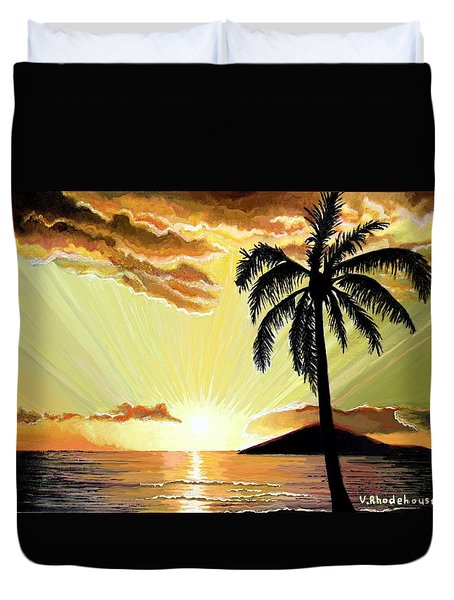 Palm Beach Sunset Duvet Cover