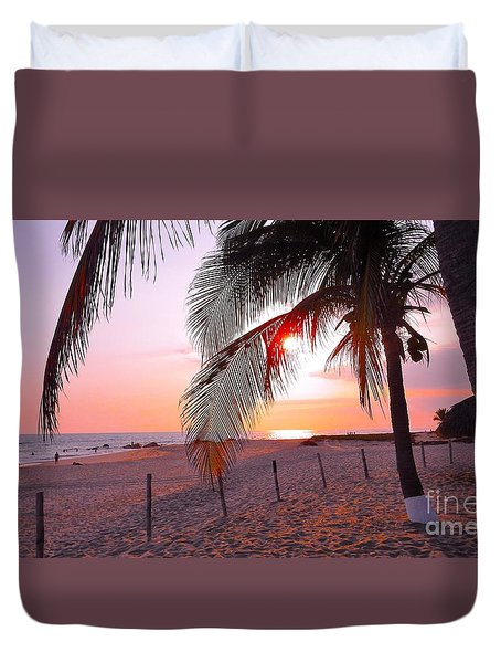 Palm Collection - Sunset Duvet Cover by Victor K