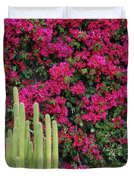 Palm Desert Blooms Duvet Cover