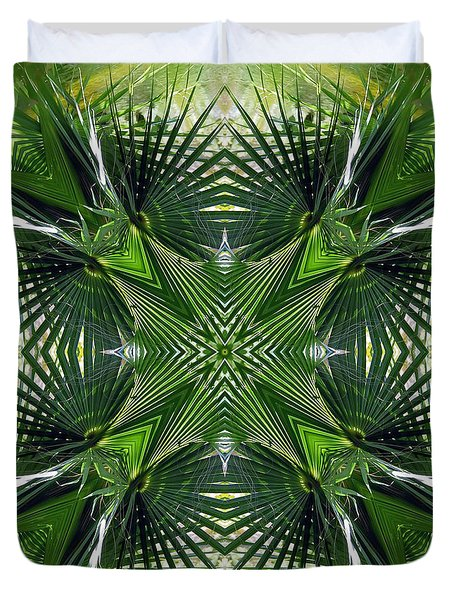 Duvet Cover featuring the photograph Palm Frond Kaleidoscope by Francesa Miller