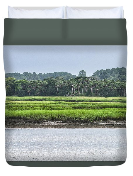 Duvet Cover featuring the photograph Palm Island by Margaret Palmer