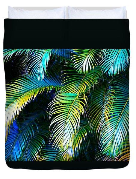 Palm Leaves In Blue Duvet Cover