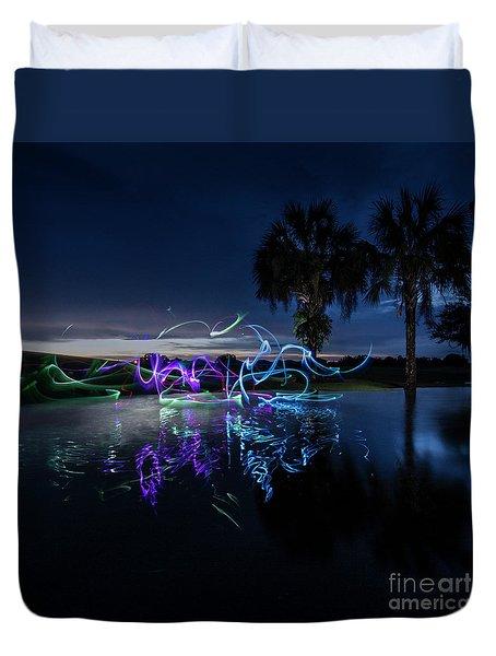 Palm Lights Duvet Cover