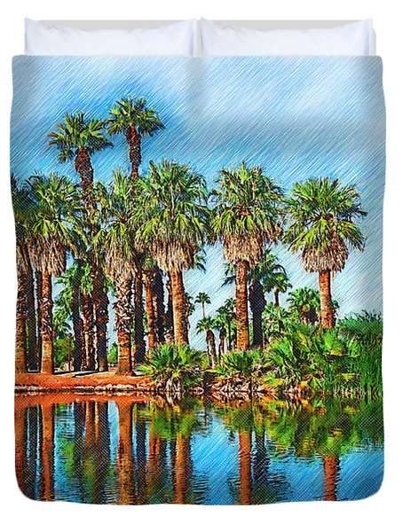 Palm Reflections Sketched Duvet Cover