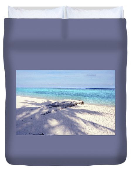 Palm Shadow Duvet Cover by Jenny Rainbow
