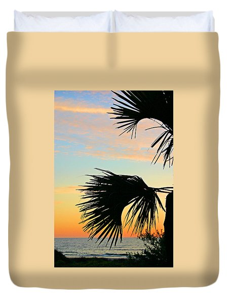 Duvet Cover featuring the photograph Palm Silhouette by Kristin Elmquist