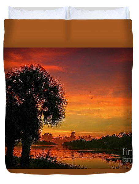 Duvet Cover featuring the photograph Palm Silhouette Sunrise by Tom Claud