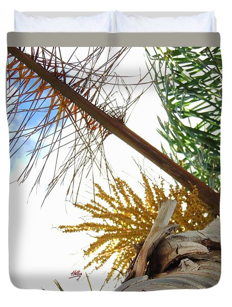 Duvet Cover featuring the photograph Palm Sky View by Linda Hollis