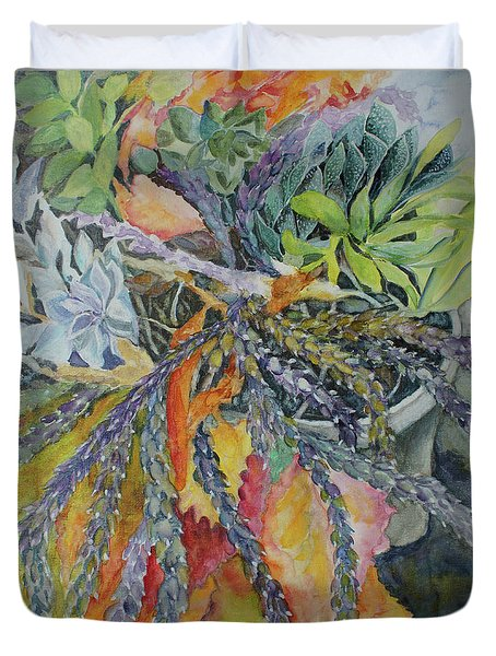Duvet Cover featuring the painting Palm Springs Cacti Garden by Joanne Smoley