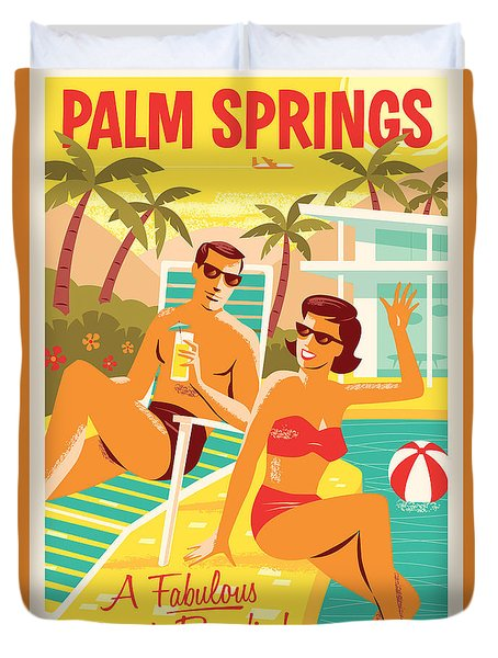 Palm Springs Retro Travel Poster Duvet Cover