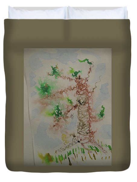 Duvet Cover featuring the drawing Palm Tree by AJ Brown