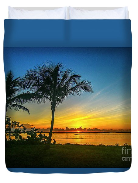 Duvet Cover featuring the photograph Palm Tree And Boat Sunrise by Tom Claud