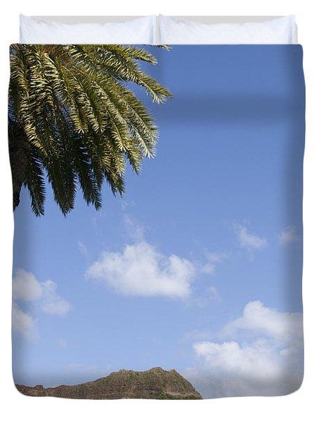 Palm Tree And Diamond Head Duvet Cover by Brandon Tabiolo