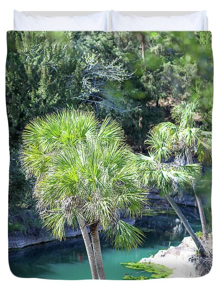Duvet Cover featuring the photograph Palm Tree Blue Pond by Raphael Lopez