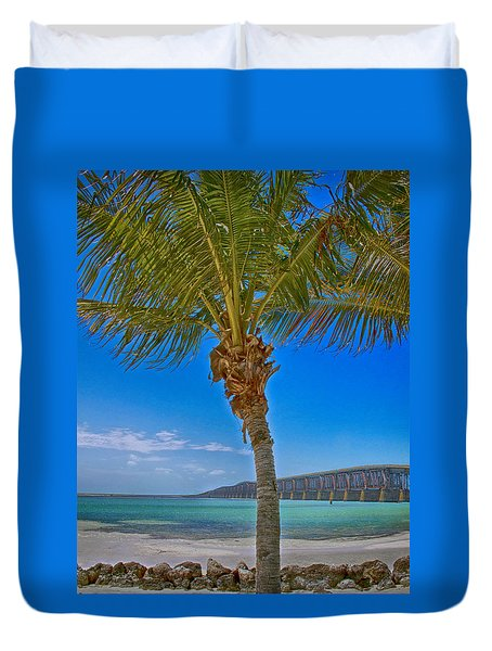 Duvet Cover featuring the photograph Palm Tree Bridge And Sand by Paula Porterfield-Izzo