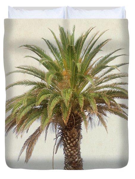 Palm Tree In Coastal California In A Retro Style Duvet Cover