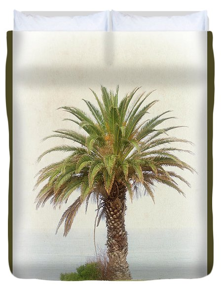 Palm Tree In Coastal California In A Retro Style Duvet Cover