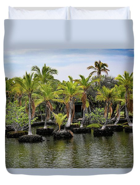 Duvet Cover featuring the photograph Palm Tree Islands by Pamela Walton