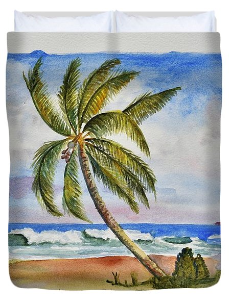 Palm Tree Ocean Scene Duvet Cover
