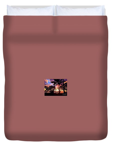 Palm Tree Silhouette Duvet Cover