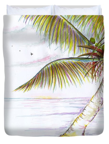 Duvet Cover featuring the digital art Palm Tree Study Three by Darren Cannell