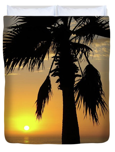Palm Tree Sunset Duvet Cover by Jim And Emily Bush