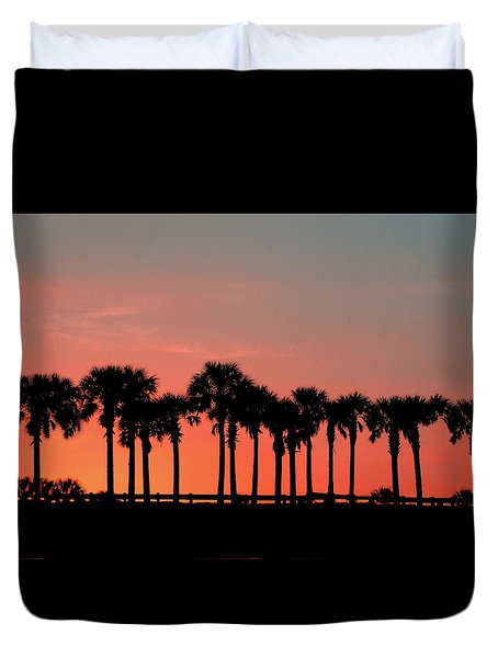 Duvet Cover featuring the photograph Palm Tree Sunset by Joel Witmeyer