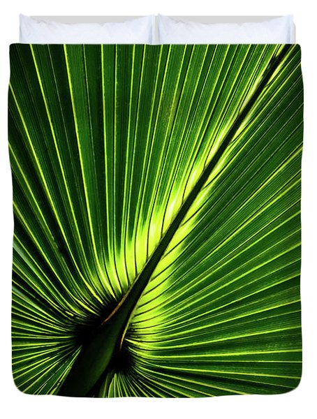 Palm Tree With Back-light Duvet Cover