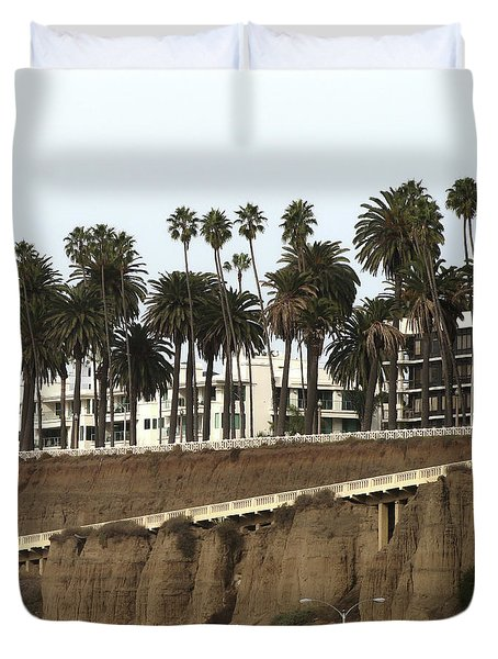 Palm Trees And Apartments Duvet Cover