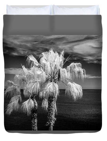 Duvet Cover featuring the photograph Palm Trees At Laguna Beach In Infrared Black And White by Randall Nyhof